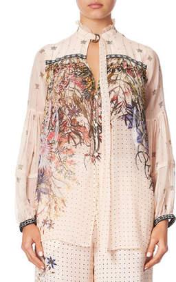 Camilla Printed Silk Blouse with Yoke & Neck Tie