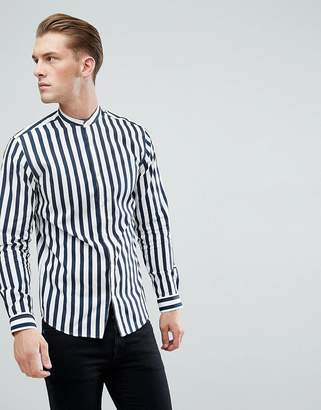 Jack and Jones Slim Fit Shirt With Grandad Collar In Vertical Stripe