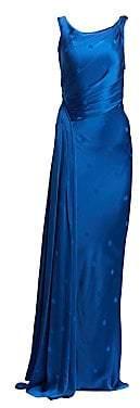 Zac Posen Women's Asymmetric Polka-Dot Satin Gown