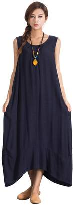 OverSize Women's Linen Cotton Loose Sleeveless Dress Large Long Plus Clothing a63