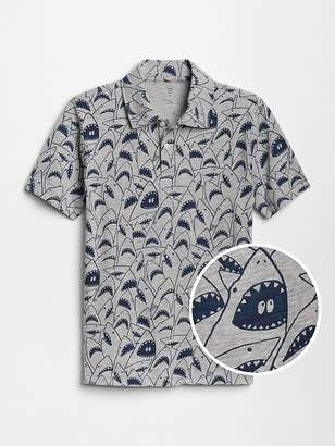 Gap Print Short Sleeve Polo Shirt