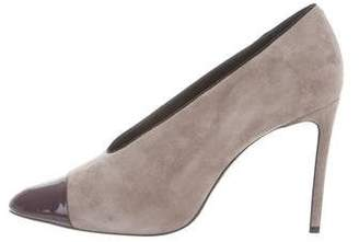 Lanvin Cap-Toe Suede Pumps