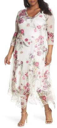 Komarov Floral Handkerchief Hem Charmeuse Midi Dress