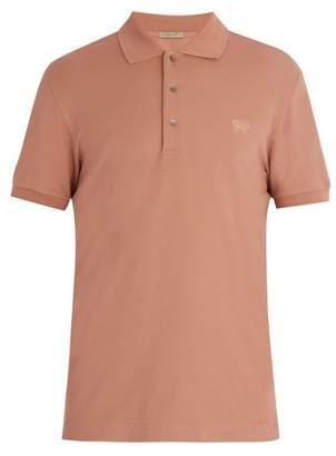 Bottega Veneta Logo Embroidered Cotton Pique Polo Shirt - Mens - Nude