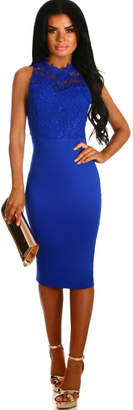 Pink Boutique Keep Dreaming Cobalt Blue Crochet Bodycon Midi Dress