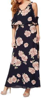 Dex Floral Cold-Shoulder Maxi Dress