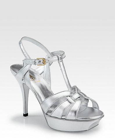 Saint Laurent Tribute Metallic Leather Platform Sandals