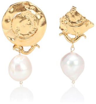 Alighieri Passione Di Napoli 24kt gold-plated earrings with baroque pearls