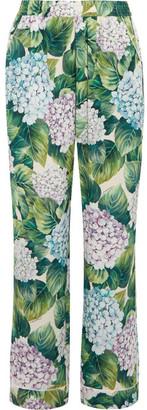 Dolce & Gabbana - Floral-print Silk-blend Charmeuse Wide-leg Pants - Green $1,375 thestylecure.com