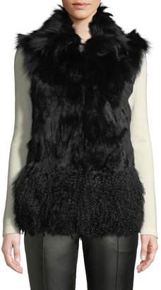 Adrienne Landau Shearling-Hem Fur Vest