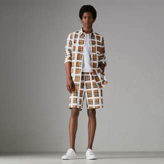 Burberry Painted Vintage Check Cotton Drawcord Shorts