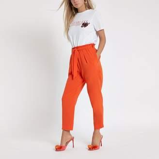River Island Womens Petite orange tapered leg trousers