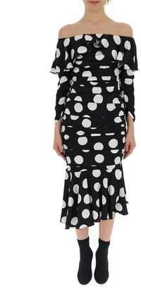 Dolce & Gabbana Off Shoulder Polka Dot Midi Dress