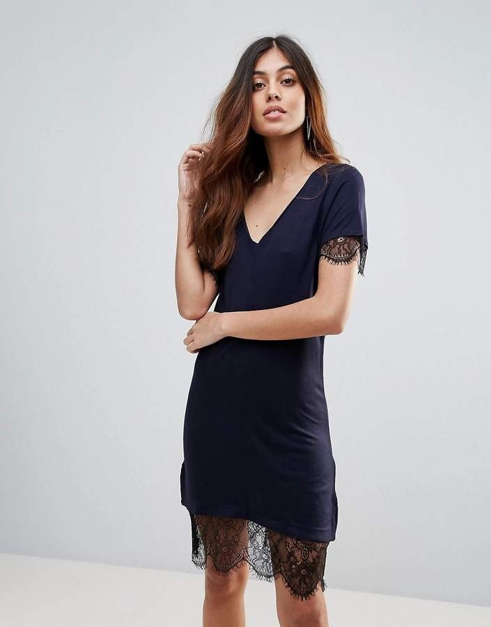French Connection Swift Lace Trim T-Shirt Dress