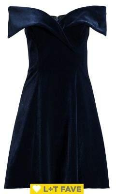 Xscape Evenings Off-the-Shoulder Fit-&-Flare Velvet Dress