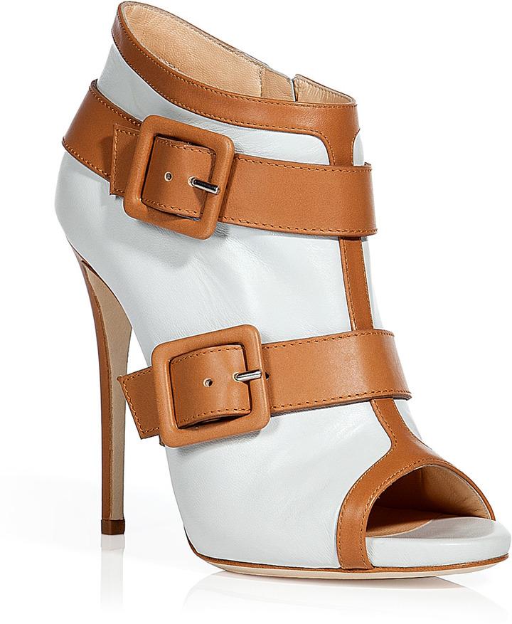 Giuseppe Zanotti White and camel peep-toe booties