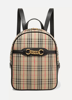Burberry Embellished Leather And Checked Cotton-drill Backpack - Beige