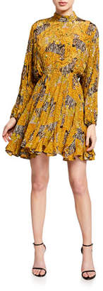 Rhode Resort Caroline High-Neck Animal-Print Flounce Dress