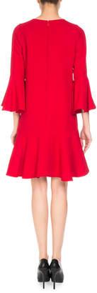 Andrew Gn 3/4-Sleeve Mini Dress w/ Embellished Keyhole Details