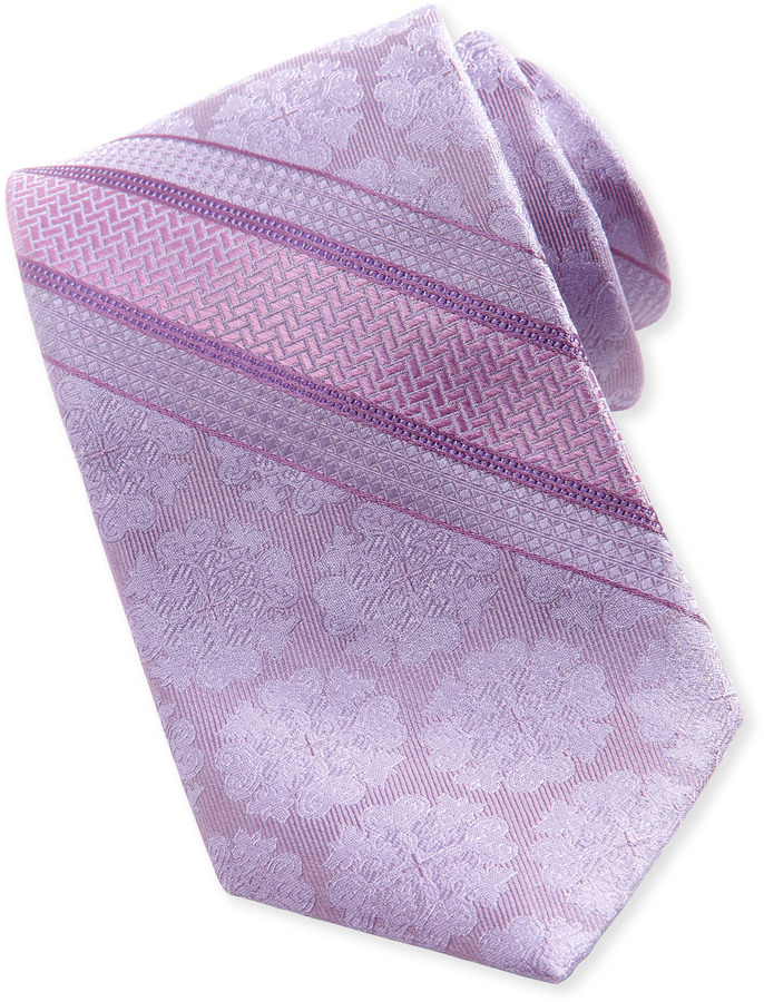 Robert Graham Medallion Stripe Silk Tie, Lilac