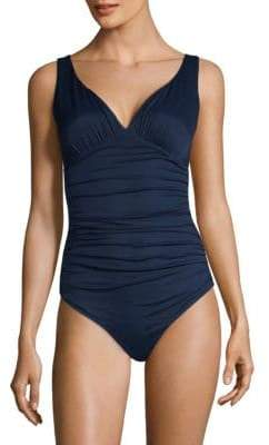 Chiara Boni One-Piece Ruched V-Neck Swimsuit