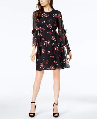 Nine West Floral-Print Bell-Sleeve Dress