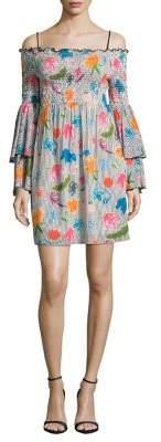 Nicole Miller New York Off-Shoulder Smocked Bell-Sleeve Dress