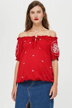 Topshop **Maternity Cut Out Embroidered Top