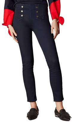 Karen Millen Button Detail Skinny Jeans in Dark Denim