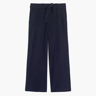 J.Crew Linen-cotton wide-leg crop pant with tie waist