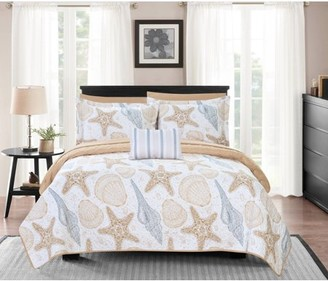 Chic Home Bastille 8 Piece Reversible Quilt Coverlet Set Embossed Bed in a Bag