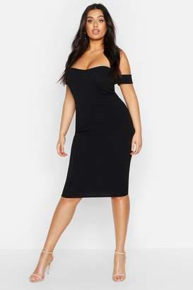 boohoo Plus Slinky Curved Hem Off Shoulder Dress