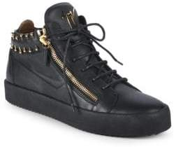 Giuseppe Zanotti Pierced Collar Leather Sneakers