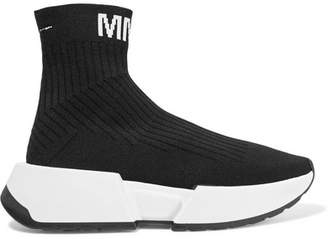 MM6 MAISON MARGIELA Logo-jacquard Ribbed Stretch-knit Sneakers - Black
