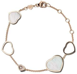 Chopard 18kt rose gold Happy Hearts mother of pearl and diamond bracelet