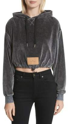 Alexander Wang T by  Velour Crop Hoodie