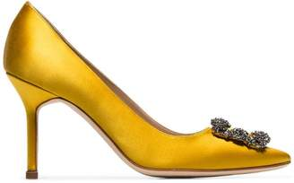 7934838ce3b8 Manolo Blahnik yellow Hangisi 90 crystal buckle silk satin pumps