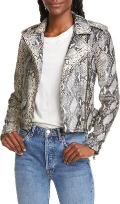 IRO Ashville Snake Embossed Leather Moto Jacket