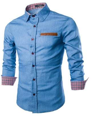 Sunrain Trendy Men Autumn Long Sleeve Turn Down Collar Denim Shirts Cotton Jeans Shirt