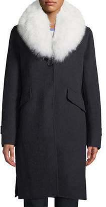 84d4cfcfb6d53 Derek Lam 10 Crosby Wool-Blend Midi Coat w  Fur Shawl Collar