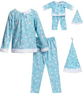 Dollie & Me Girls 4-14 Snowman & Snowflake Top, Bottoms & Hat Pajama Set & Matching Doll Pajamas