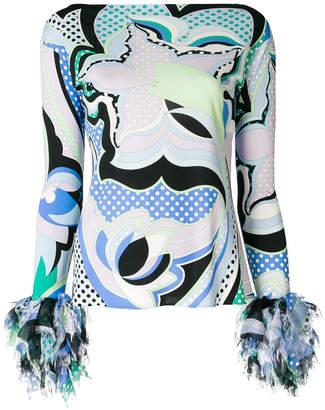 Emilio Pucci frayed sleeve blouse