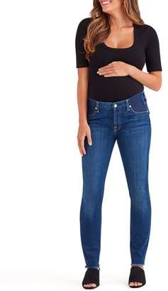 7 For All Mankind Ankle Skinny Maternity Jeans w/ Frayed Hem