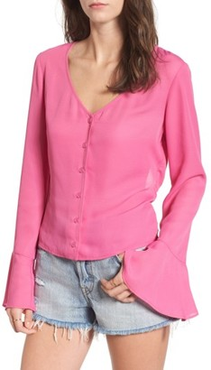 Women's Mimi Chica Tie Back Bell Sleeve Top $35 thestylecure.com