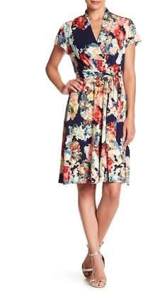 Chetta B Cap Sleeve Jersey Wrap Dress