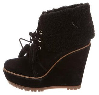 Mulberry Shearling Wedge Booties $180 thestylecure.com