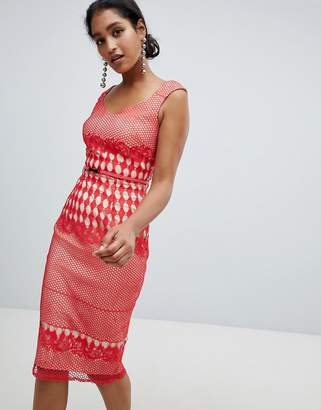 Little Mistress crochet lace pencil dress