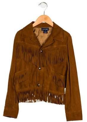 Ralph Lauren Girls' Suede Fringe-Trimmed Jacket