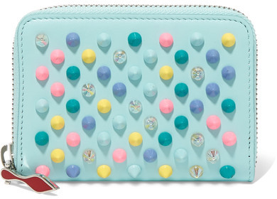 Christian Louboutin Christian Louboutin - Panettone Spiked Leather Wallet - Sky blue