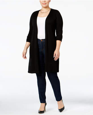 Inc International Concepts Plus Size Ribbed Maxi Cardigan, Created for Macy's $89.50 thestylecure.com